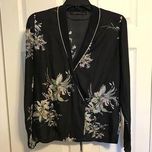Zara Black Floral Print Silk Shirt